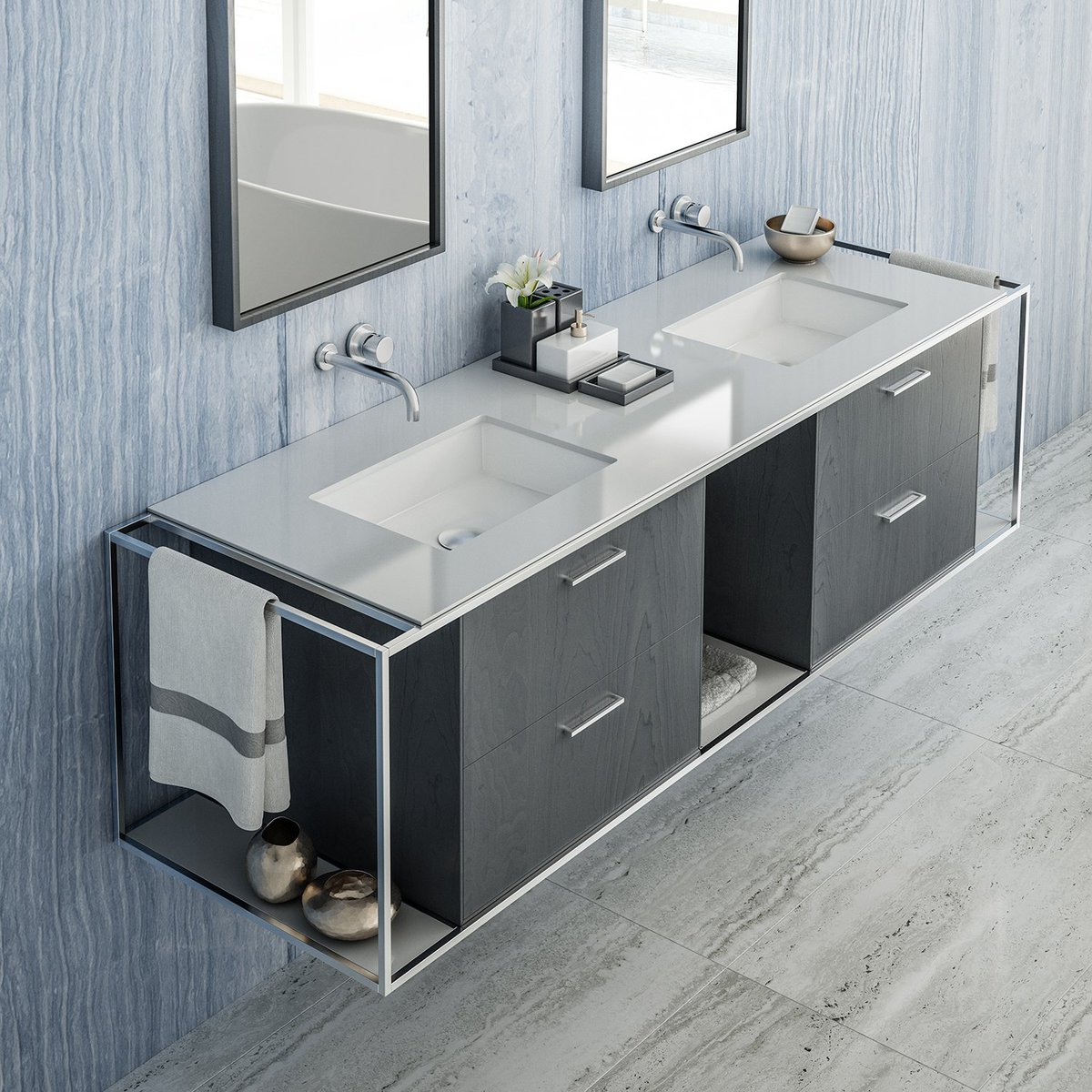 #Linea Vanity L426 Is Perfect For That Shared Bathroom...  Https://goo.gl/p8VRuc     #Vanity #DoubleVanity #Sink #HisAndHers  #PersonalSpa #Bathroom #beauty ...