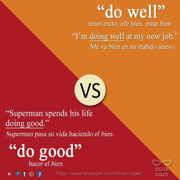 RT @Diloeningles: do well = tener éxito, irle bien, estar bien do good = hacer el bien  #frasescomunes #inglés https://t.co/xb1igmyLiJ