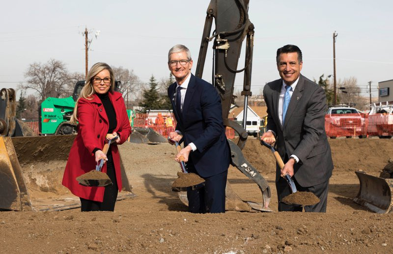 Breaking ground in Reno today with @GovSandoval &  as @MayorSchievepart of our data center expansion plan, one of many Apple initiatives which will contribute $350 billion to the U.S. economy and create 20,000 new jobs over the next 5 years.