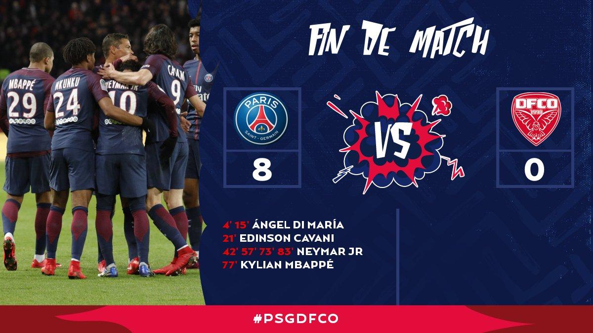90' C'est terminé ! Paris remporte ce #PSGDFCO sur une victoire écrasante 8 à 0 !