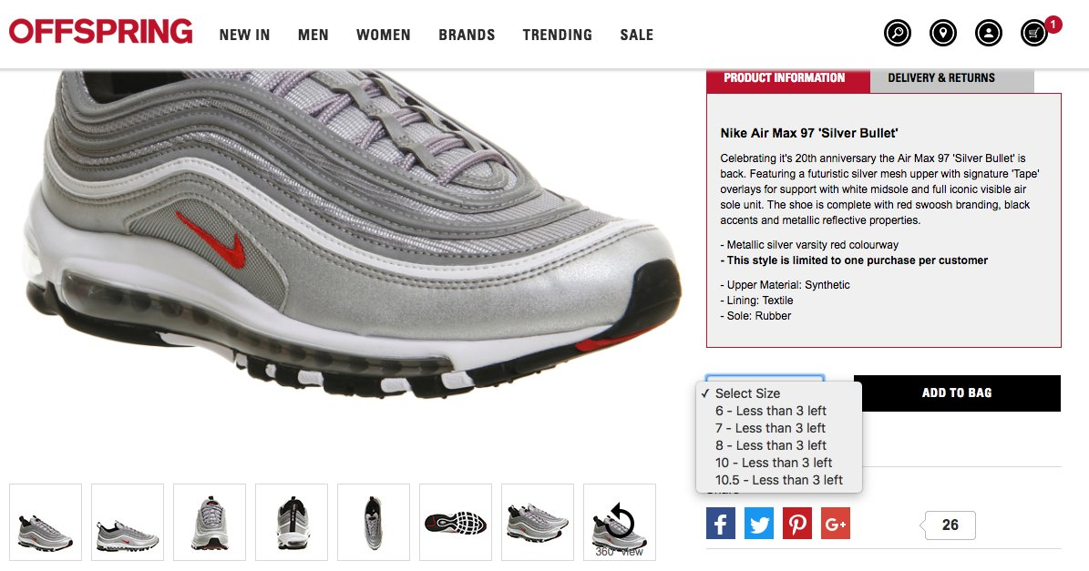 aa299020d8c20 ... top quality the sole restocks on twitter nike air max 97 silver  bullets. restock at