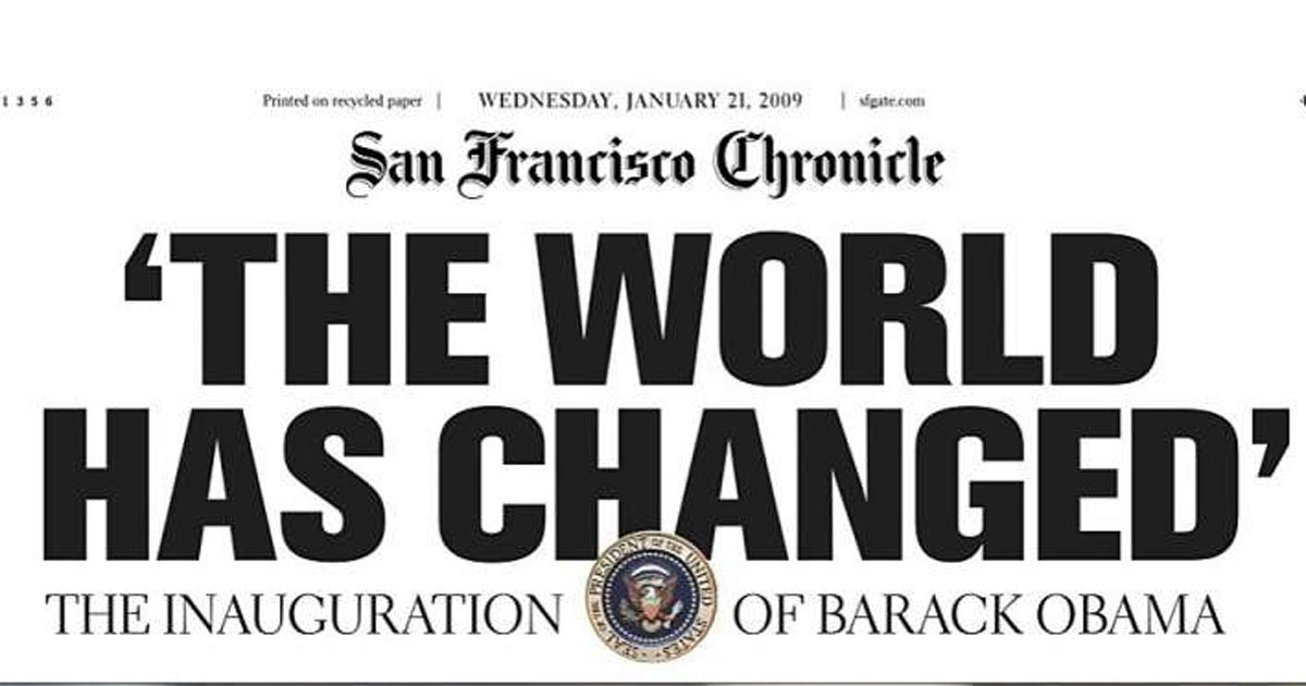 9 years ago today: The Chronicle covers the inauguration of President Barack Obama. Front pages don't get much more historic than this.  https://t.co/bJp3Jf52wU
