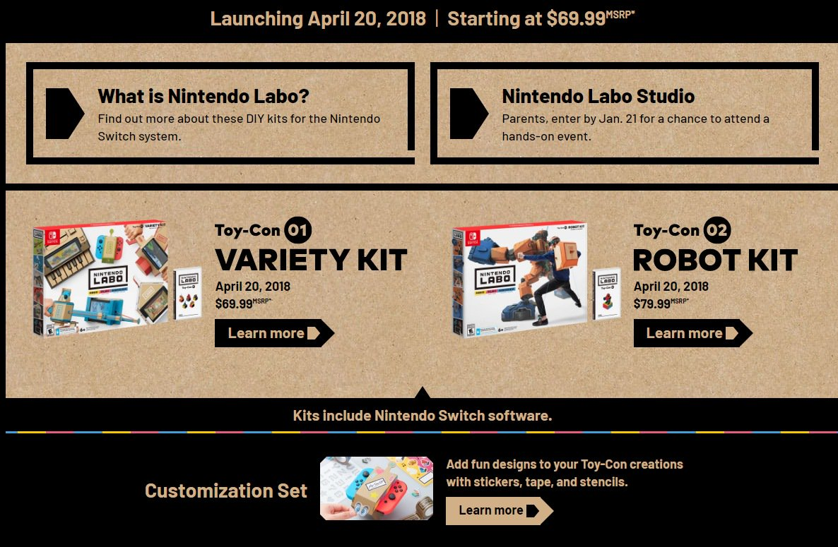 Nintendo Announces Labo, A Range Of Interactive DIY Toys For Switch