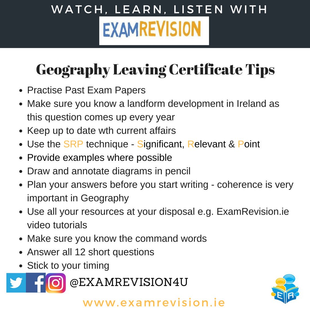 Examrevision on twitter some tips for the leaving cert geography remember all our video tutorials are free to watch on examrevision jcgeography jcgeography geography lc lc18 leavingcert lcgeography geographylc yadclub Choice Image