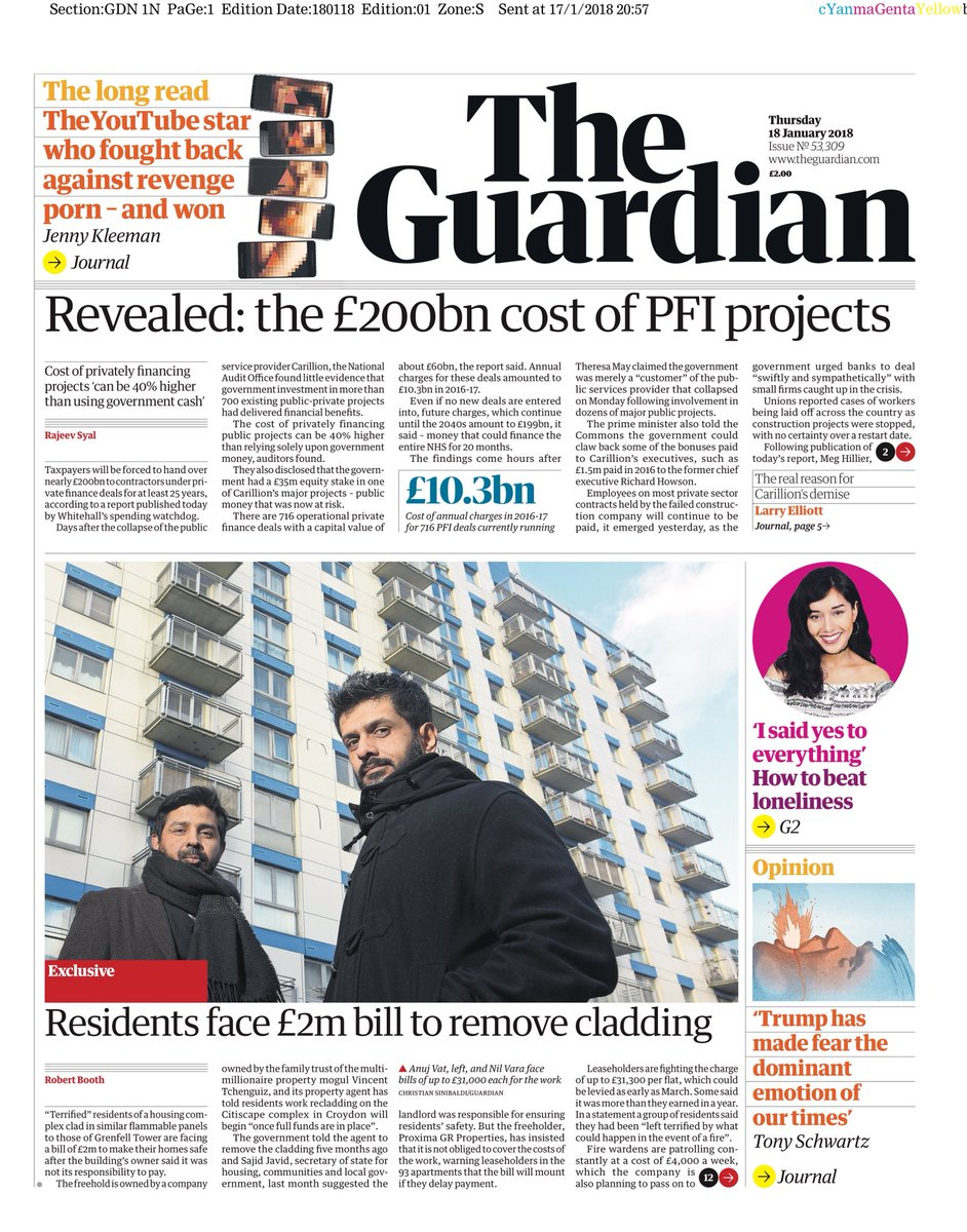 GUARDIAN: Revealed: The £200bn cost of PFI projects #tomorrowspaperstoday