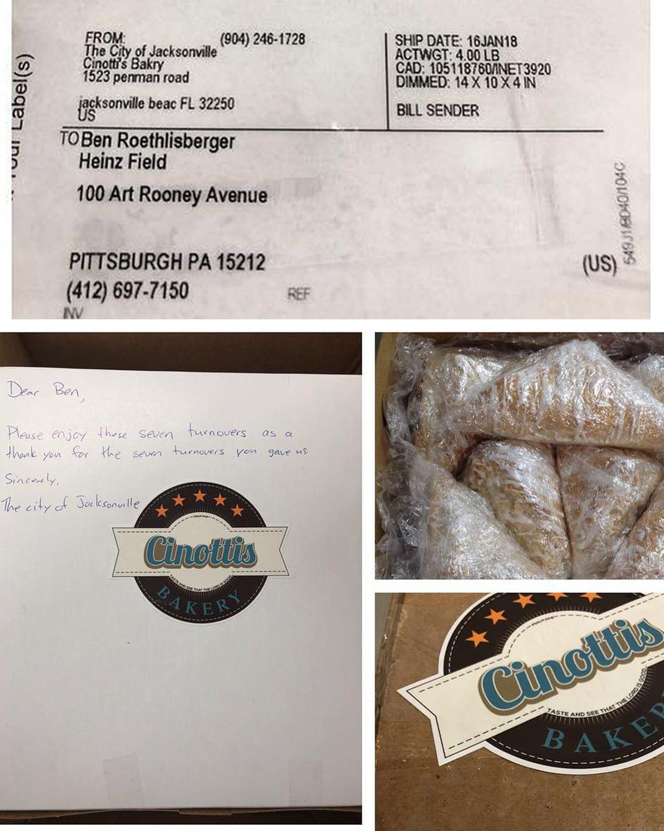 A Jacksonville bakery shipped Ben Roethlisberger 7 turnovers as a thank you for the Steelers' turnovers against the Jaguars this season. 😂 😂 😂 (via Cinotti's Bakery/Facebook)