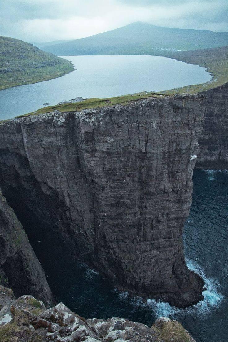 Lake Sorvagsvatn located in Faroe Island...