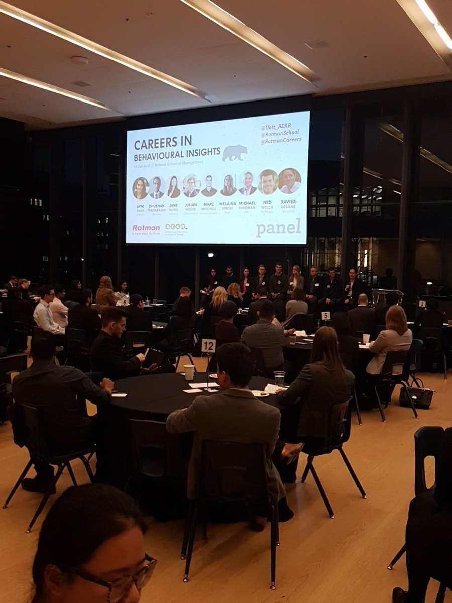 Industry leaders putting a #behavioural #lens on their consulting, public policy, product design work at @rotmanschool @UofT_BEAR career event! Everything is #behavioural!<br>http://pic.twitter.com/Tfydfz9ENq