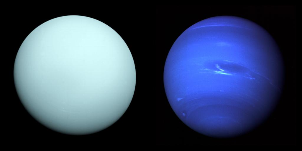"""Did you know that Uranus has rings & appears to spin on its side? Or that intensely blue Neptune once had an Earth-sized Great Dark Spot? Get to know these planetary pariahs known as the """"ice giants"""" in our latest episode of our Gravity Assist podcast: https://t.co/3W14d4qsYA"""