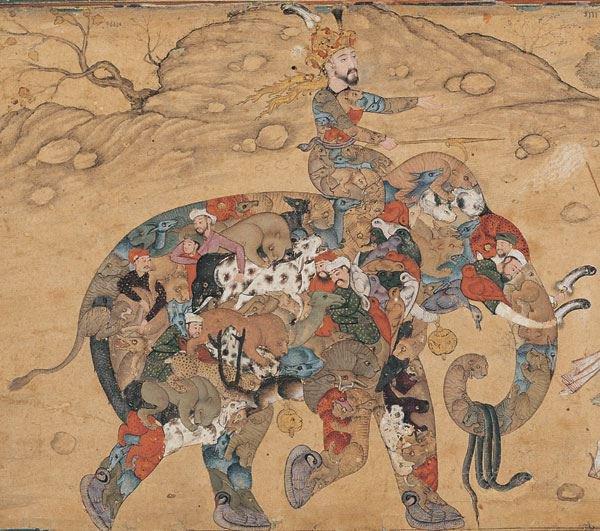 Composite Elephant. Persian Miniature, c...