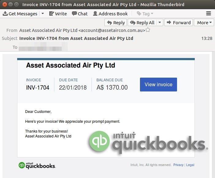 MailGuard On Twitter Warning Fake Invoice Email Linking To - Quickbooks invoice email message