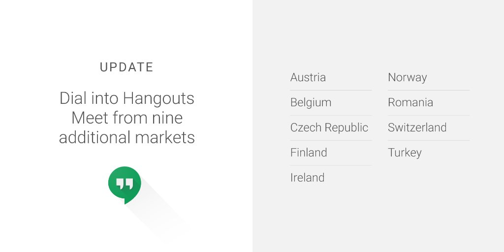 Weve added 9️⃣ additional international Hangouts Meet dial-in phone numbers so your team can stay connected, wherever they are. goo.gl/ABf9TK