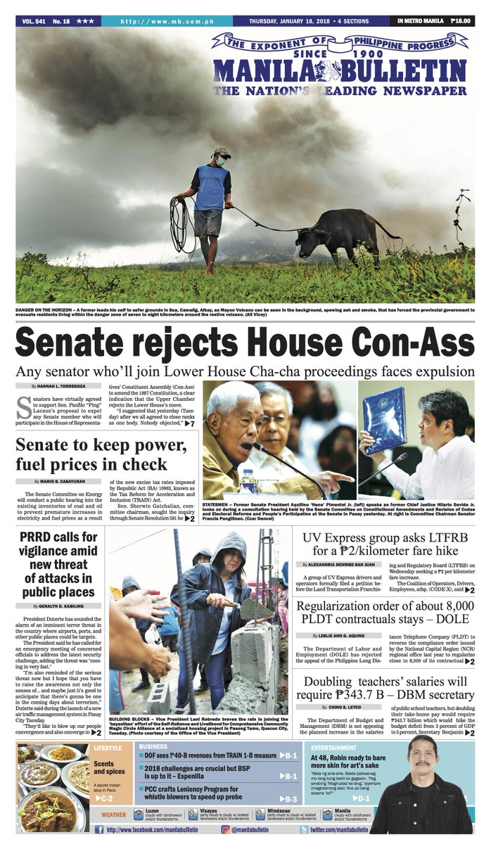 Manila Bulletin Headline for Today (01/18/2018)  https://t.co/VjtGUbRwlF   Grab your copy at your  favorite newsstand today or read it all on our website at https://t.co/ydlDLDY9E4  You can also follow us on Twitter @manila_bulletin and Instagram@manila_bulletin