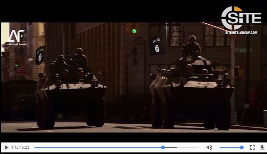 Islamic State have been sharing on Telegram a fantasy film of their troops 'conquering Washington' using footage from 'White House Down' and 'Olympus Has Fallen' movies -- complete with IS F22 Raptors 🤔🤔🤔 -- via @siteintelgroup
