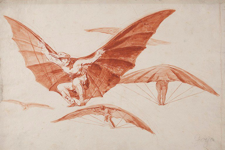 Goya - Ways of flying, red chalk drawing...