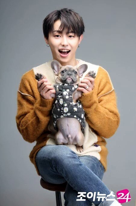 u-kwon with his dogs. this has to be the...