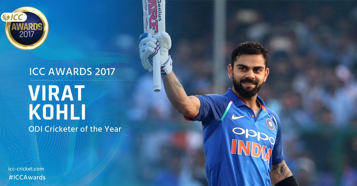 ICC ODI Cricketer of the Year 🏆🇮🇳 Virat Kohli  @imVkohli scored six tons in the format last year, averaging an astonishing 76.84.  His ODI career average now stands at 55.74, the highest ever by a batsman from a Full Member nation!  More ➡️ https://t.co/vVhi4ta9SR #ICCAwards