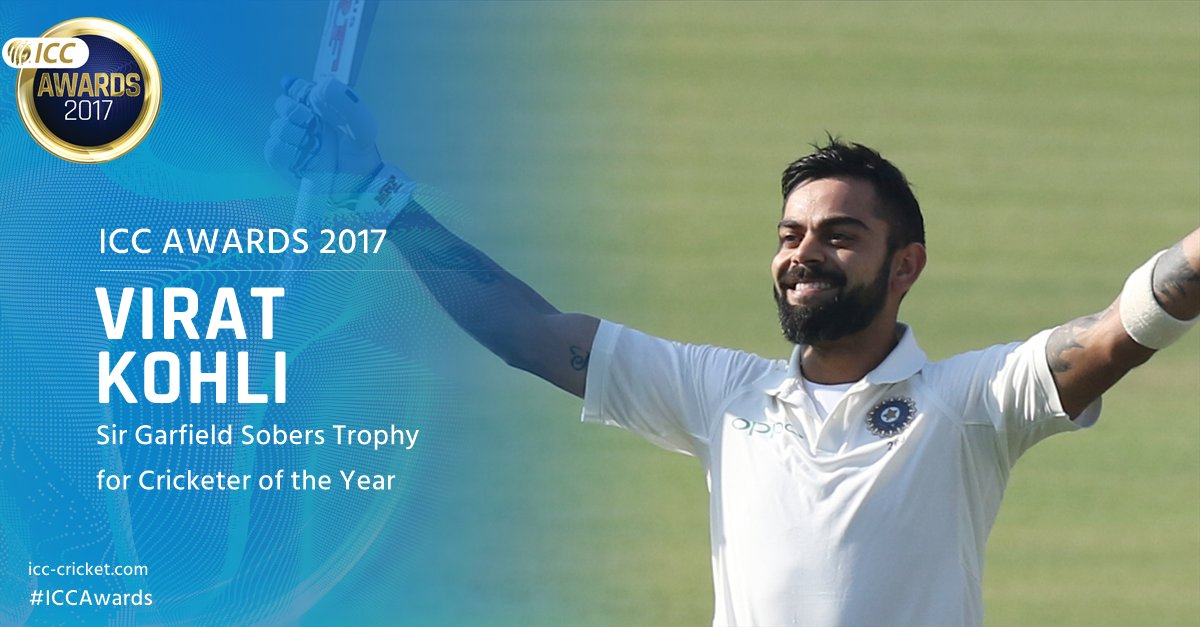 ICC Sir Garfield Sobers Trophy 🏆🇮🇳 Virat Kohli  With India flying high at the top of the rankings, @imVkohli scored 2203 Test runs at 77.80 (eight 💯s), 1818 ODI runs at 82.63 (seven 💯s), and 299 T20I runs at a strike rate of 153.  More ➡️ https://t.co/6ITiEAJEVn #ICCAwards