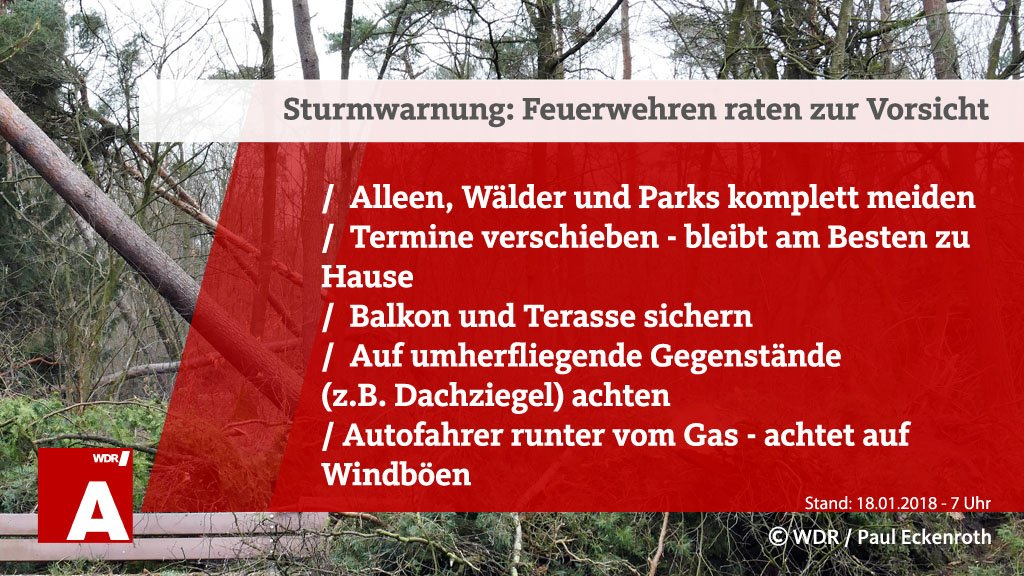 Unwetterwarnung für ganz #NRW ab 7 Uhr: Orkantief #Friederike kommt von Westen und erreicht seinen Höhepunkt bei uns voraussichtlich zwischen dem Vormittag und dem Nachmittag. Passt auf euch auf!