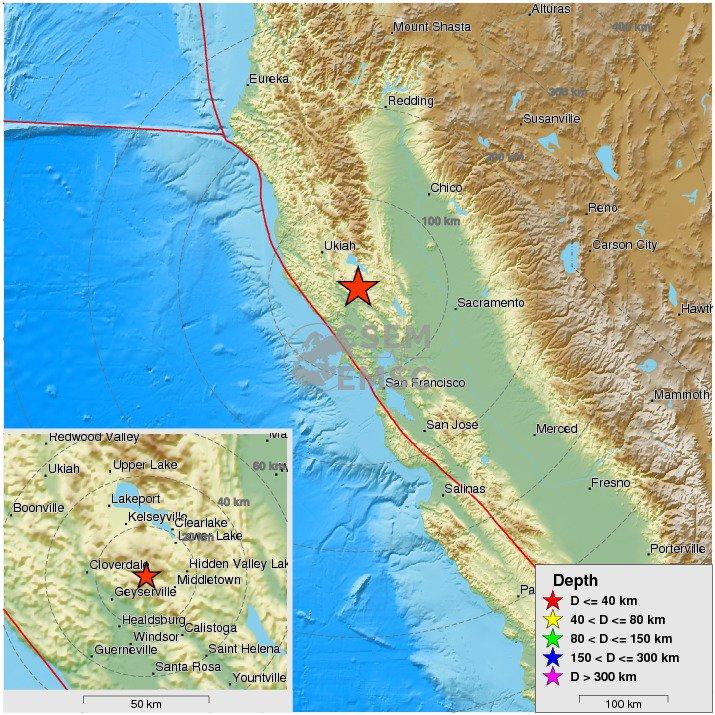 Felt #earthquake (#sismo) M4.1 strikes 39 km NW of Santa Rosa (#California) 9 min ago. https://t.co/ahjGWM2Fm8