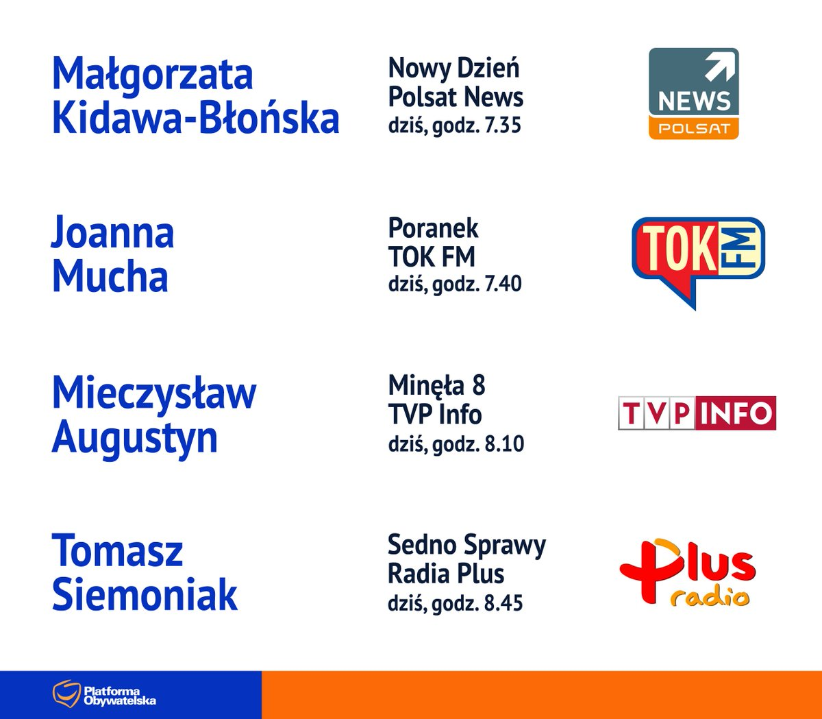 RT @NewsPlatforma: #POwMediach (18 stycznia) @M_K_Blonska @joannamucha @senatorAugustyn @TomaszSiemoniak https://t.co/HJdcpbSzF1