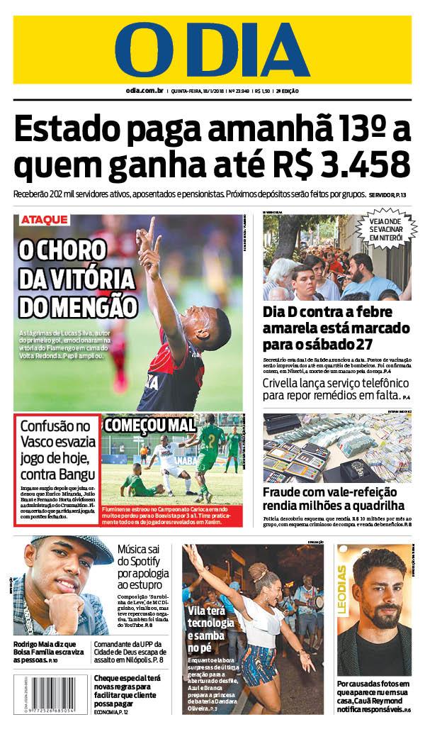 Bom dia, leitores do @jornalodia. Eis a capa de hoje 18/01/2018. #capaODIA. Saiba tudo em https://t.co/7PSLlatKpo