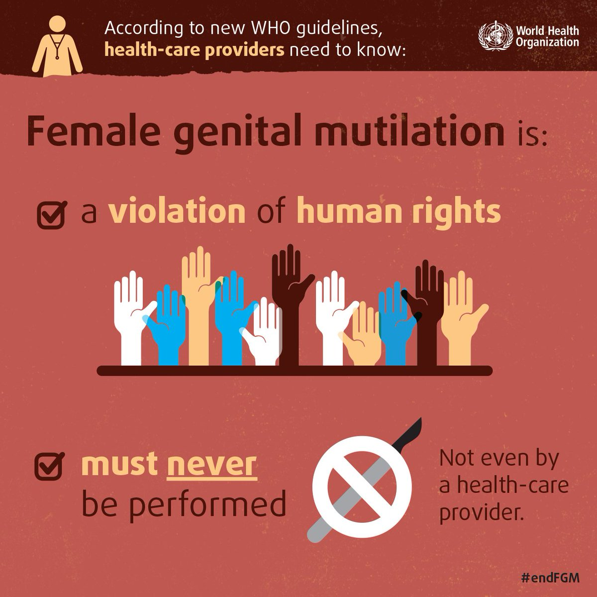 FGM is a violation of human rights. Must never be performed. Not even by a health-care provider.