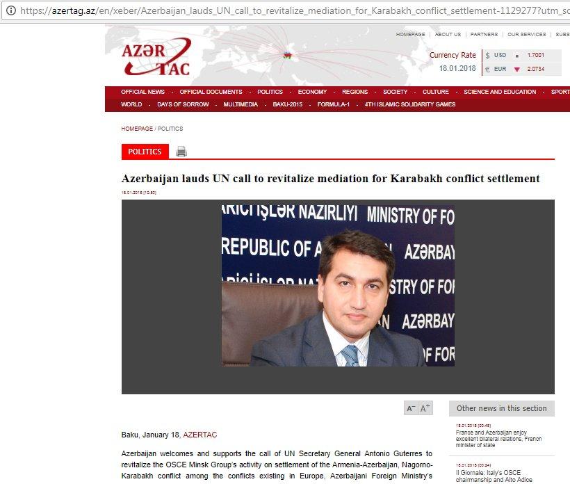 #Azerbaijan lauds @UN call to revitalize mediation for #Karabakh conflict settlement https://t.co/N6DtQhCd2r https://t.co/mYOn0NdqcX