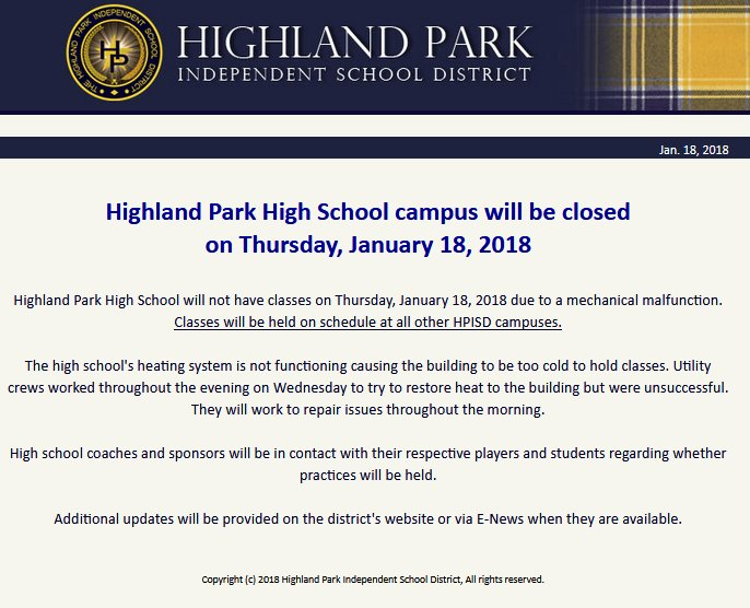 NEW: Classes are canceled this morning at Highland Park High School. An official tells us they're heaving heating problems - & the building will be too cold for classes!    W#IAmUpX#DFW#Texas#DFWWX