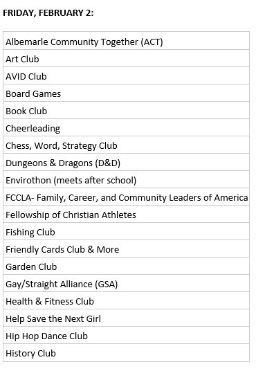 Tomorrow is an anchor day with club period. The below clubs will have pictures in the forum during club period.
