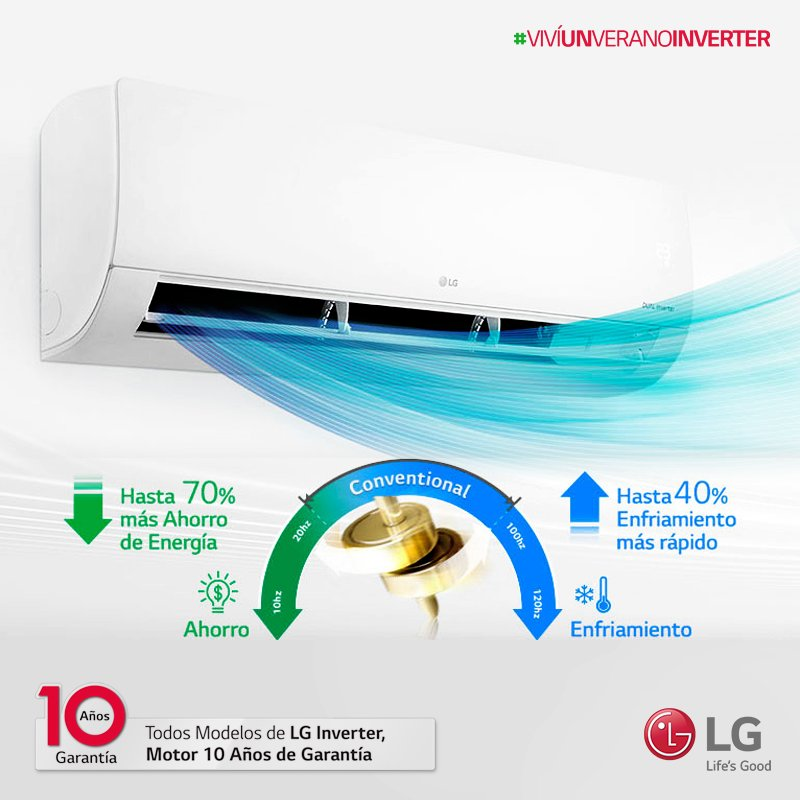El aire acondicionado LG enfría mas rápido gracias a su compresor Dual Inverter™, y además ahorras energía. ¿Qué esperas para tenerlo contigo este verano? #VivíUnVeranoInverter 😎 https://t.co/WJYAjedoNU