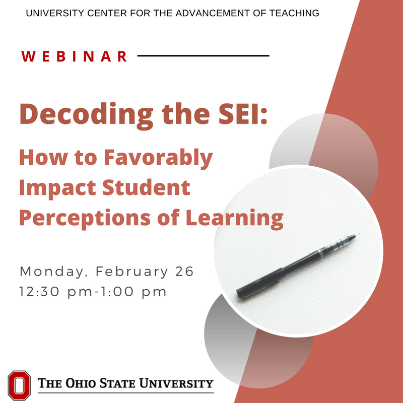 Student feedback is a critical tool for understanding your teaching effectiveness and helping improve student learning. Join our webinar 2/26 12:30-1pm to learn how you might choose what to focus on once you receive your results. https://t.co/kTy0JqnXUC