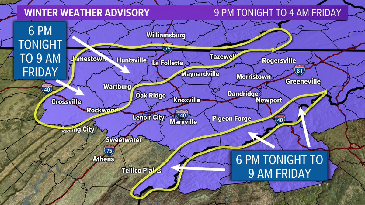 Wbir Weather On Twitter Updated The Winter Weather Advisory Has