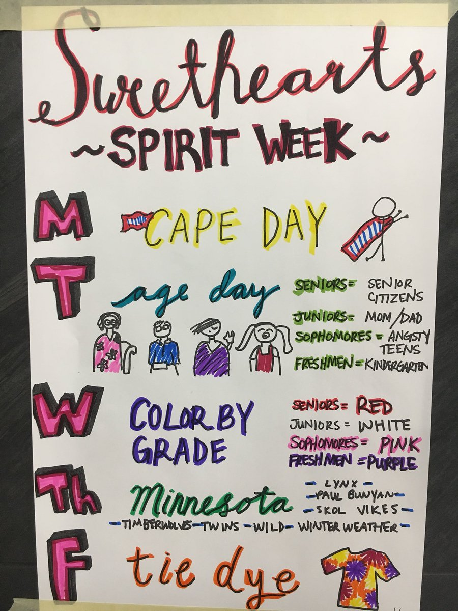 """student council on twitter: """"spirit week themes!! can't wait to see"""