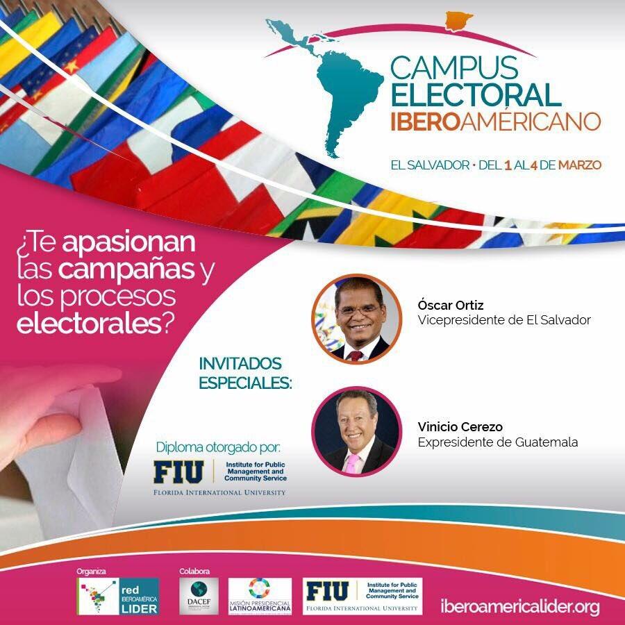 Participa en el próximo Campus Electoral Iberoamericano en El Salvador 👉🏼 ¡Aprovecha una de las últimas becas disponibles!  + Info en: http://www.iberoamericalider.org/cei-2018