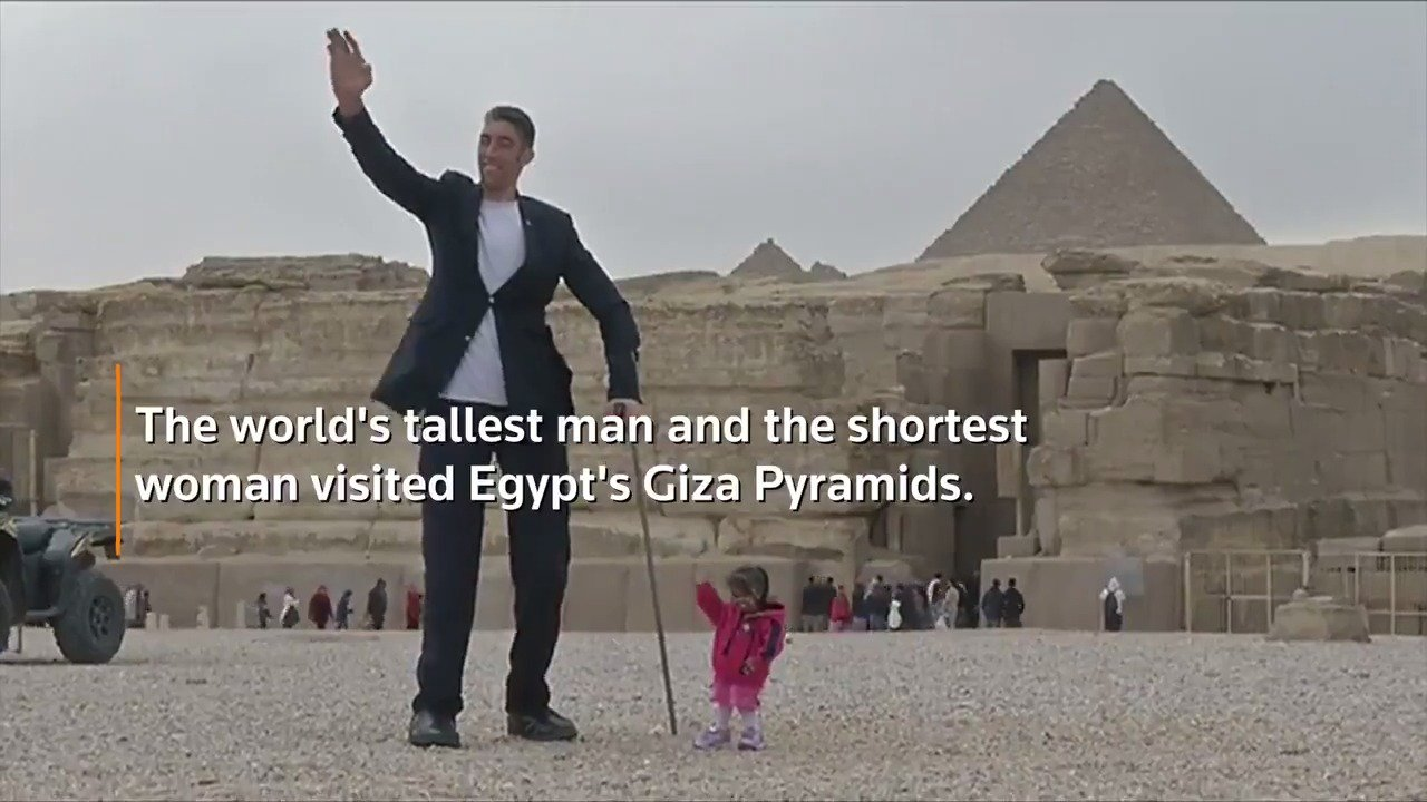 RT @Reuters: WATCH: The world's tallest man and shortest woman visit the Pyramids of Giza in Egypt https://t.co/THuSM90sUW https://t.co/GWo…