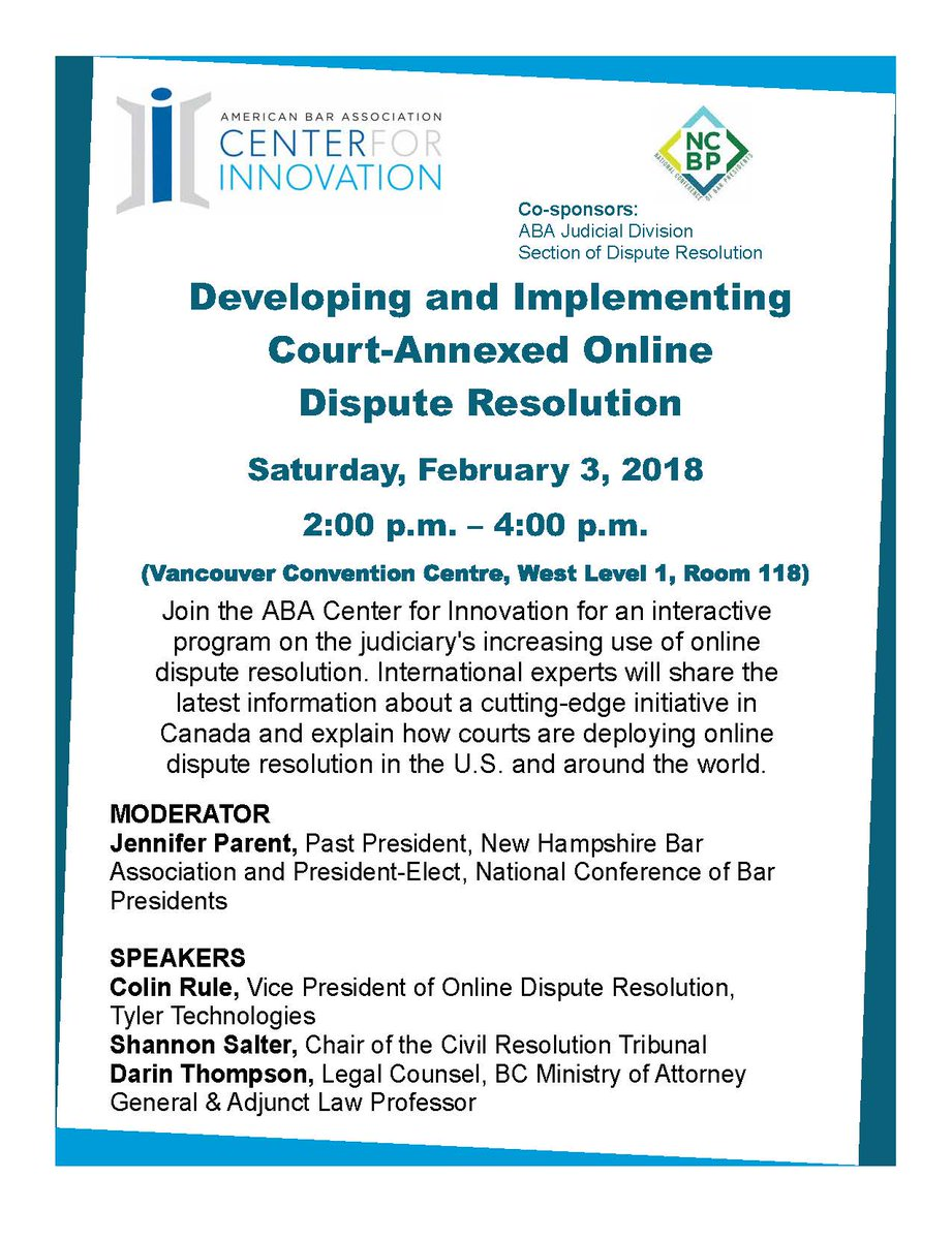 Andrew perlman andrewperlman twitter check out the abainnovation program at the aba midyear meeting featuring leading odr experts who will offer an update on efforts in the us and 1betcityfo Images