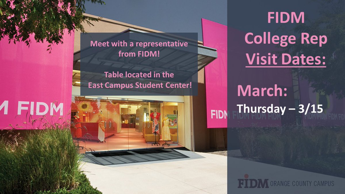 Mjc Transfer Center On Twitter A College Rep From Fidm Will Be On Campus This Semester To Discuss Your Questions About What Opportunities Await You At Fashion Institute Of Design Merchandise