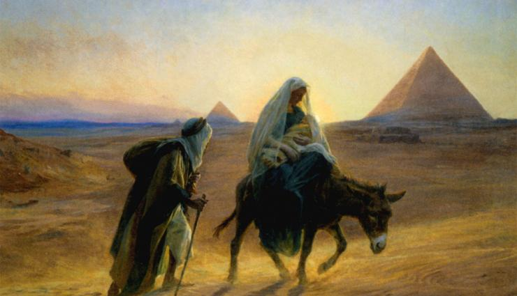 Geoff Wheaton SJ invites us to reflect on this story from Christ's infancy, the story from Matthew 2: 13-14 when Joseph took Mary and Jesus to Egypt in flight from Herod's men.  #PrayingWithArt