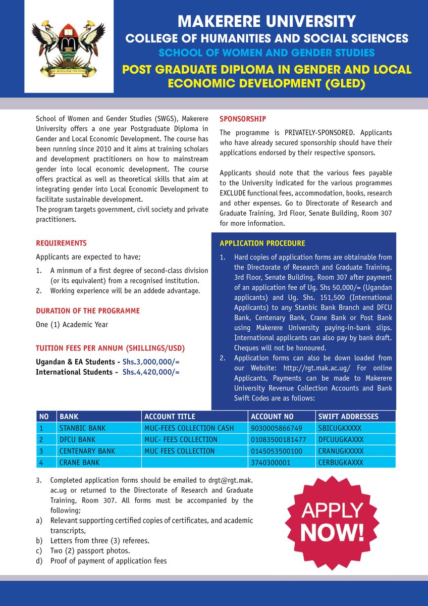 Makerere swgs makswgs twitter swgs invites you to apply for a pgd in gender local economic development ma in gender studies deadline 2932018 falaconquin