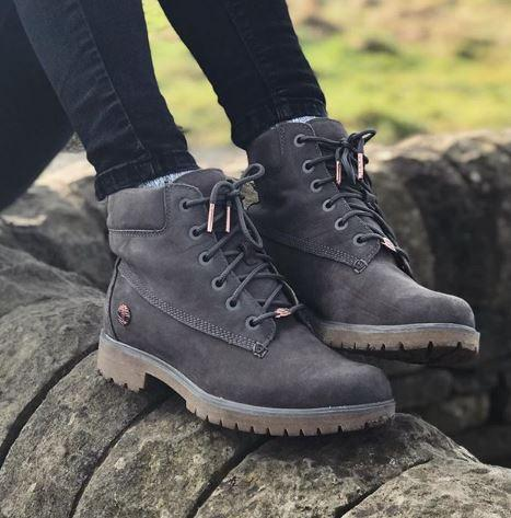 55095ac52b34 Especially her shoes! Hit the link to shop the  timberland Slim Premium 6  Inch Boots in Eiffel Tower Grey Nubuck  liveyourbestlife  http   bit.ly 2Gul4cq ...