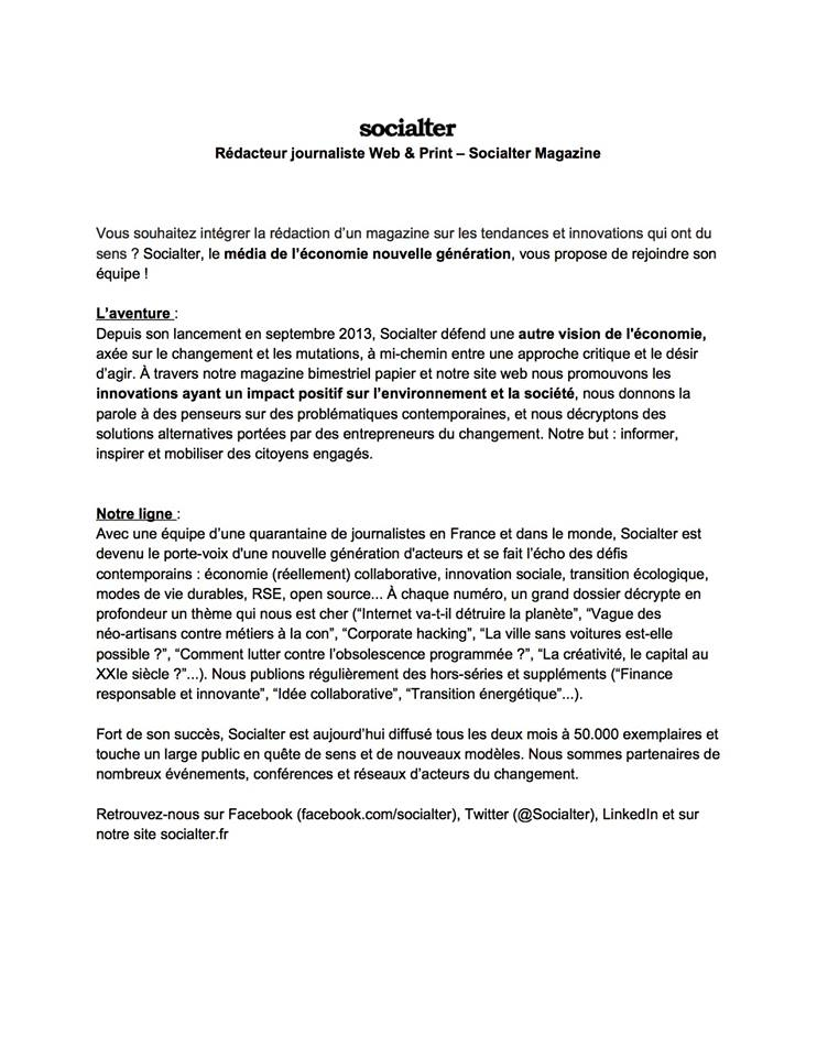 5e8110463 Socialter chercher un journaliste stagiaire dès février (c'est déjà demain!)  pour nous aider sur le print, le web, et la nouvelle formule à sortir en  avril.