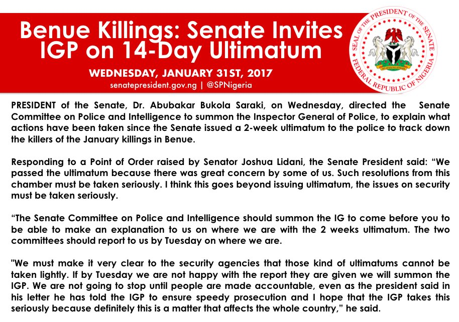 Senate summoned  Inspector General of Police,  Ibrahim Idris over his failure to arrest and arraign those involved in the new year's killings in Benue state.