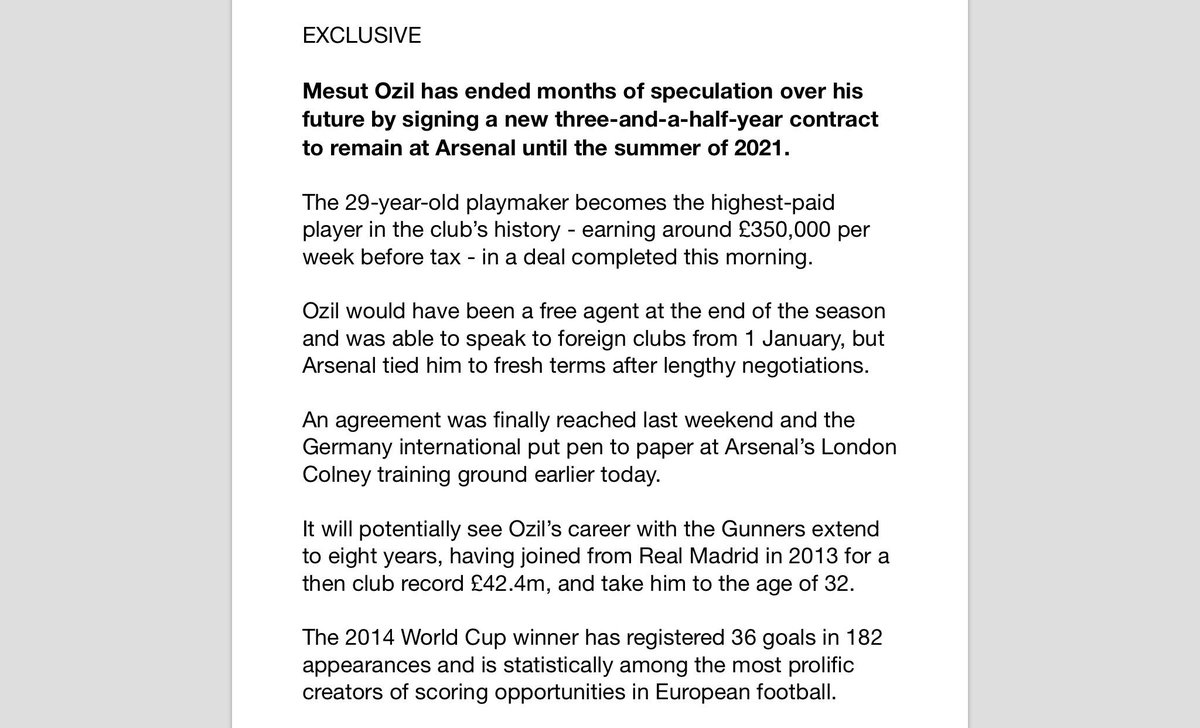 EXCLUSIVE: Mesut Ozil signs a new three-and-a-half year contract to remain at Arsenal until summer 2021. Becomes highest-paid player in club history on around £350k per week before tax. Deal agreed last weekend, signed at Colney this morning. Could take him to 8yrs at #AFC & 32yo