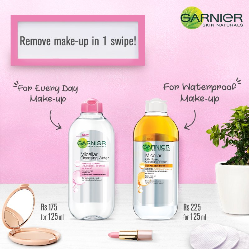Can't decide which Micellar is for you? Choose Garnier Micellar Cleansing Water to remove everyday make-up and Garnier Oil-Infused Micellar Cleansing Water for waterproof make-up. Removing makeup has never been this easy! #TakeItOff https://t.co/lOQ95c2HSx