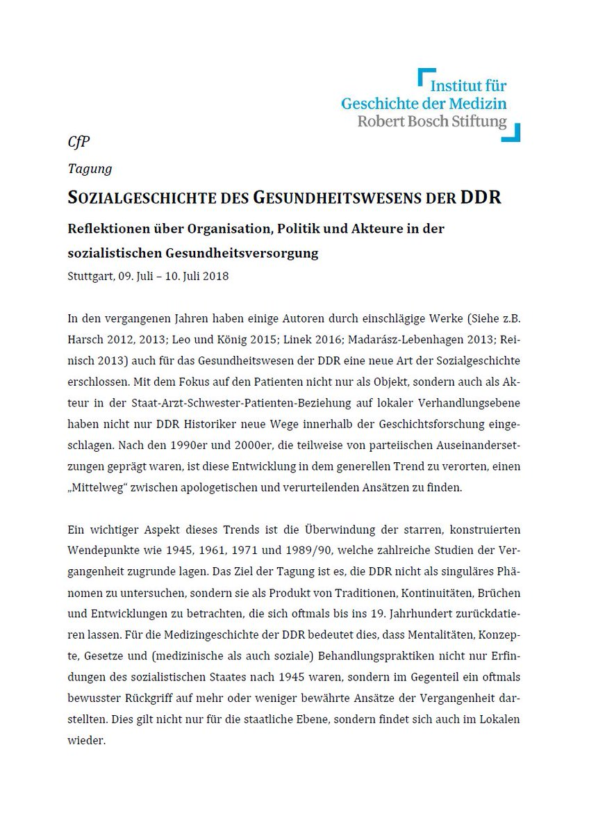 """CFP: Conference """"Social History of the East German Healthcare System:  Reflections on the Organisation, Politics and People of Socialist Health  Provision"""", ..."""