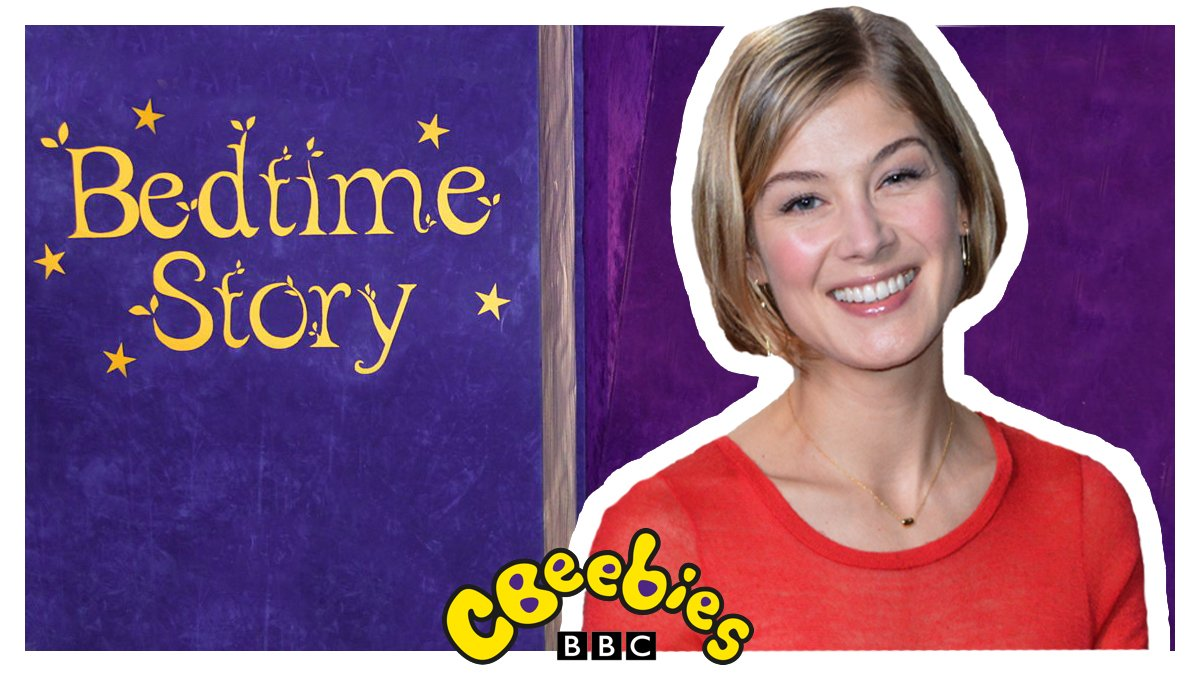 Wonderful Rosamund Pike trades in the limelight for a nightlight! 🎬🌟  'Spaghetti with the Yeti' is tonight's #BedtimeStory at 6:50pm! 📚🌙💤  @cguillain @aguillain #RosamundPike