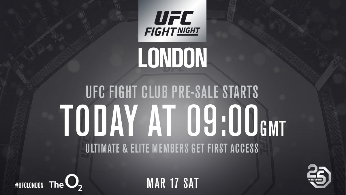 Get your seats at #UFCLondon before anyone else. The Fight Club presale is LIVE. 🎟 axs.co.uk/ufc