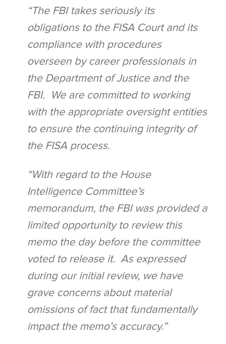 From the FBI about the Nunes memo: https...