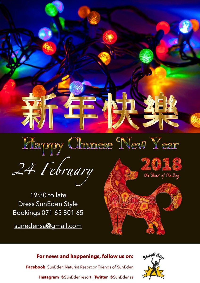 The SunEden Naturist Resort month end party on 24th February theme is  Chinese Festival of Lights. Another new year's party!